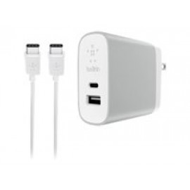 Belkin USB-C + USB-A Home Charger + Cable - Adaptador de corriente - 27 vatios